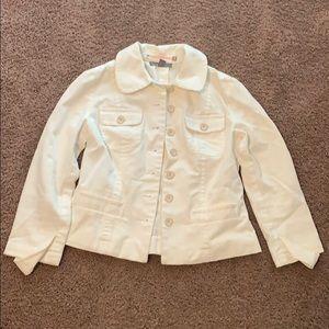 Ann Taylor White Denim Jacket Petite